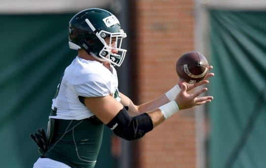 Jack Camper arrived at Michigan State at tight end, but could earn a major role as a defensive end this season.