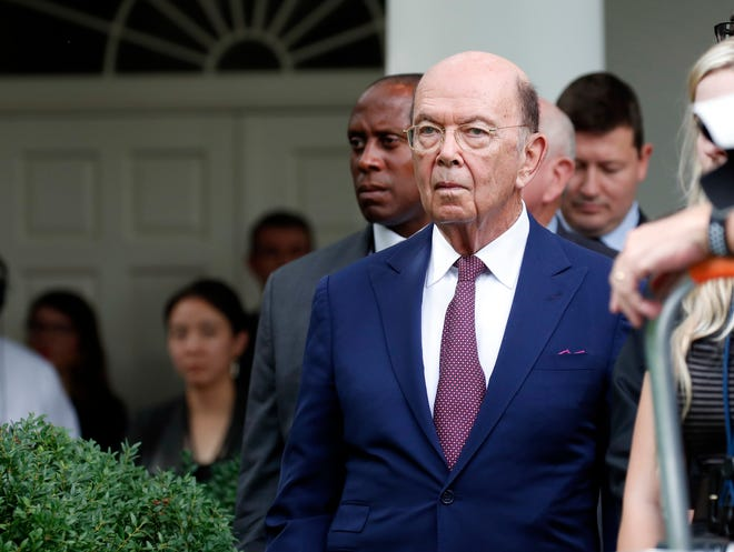 Commerce Secretary Wilbur Ross stands as President Donald Trump and European Commission president Jean-Claude Juncker speak in the Rose Garden of the White House, Wednesday, July 25, 2018, in Washington.(AP Photo/Alex Brandon)