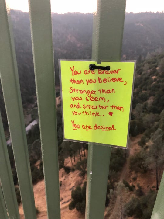 A note left on the Foresthill Bridge in Auburn, California.