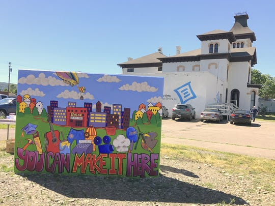 This mural painted by artist Brad Leiby and community volunteers sits outside the Community Arts of Elmira building on Lake Street.