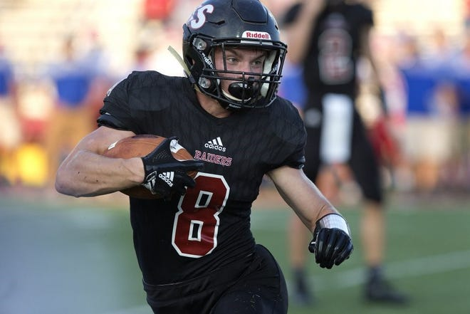 Southridge's Tucker Schank (8) runs to daylight in a Class 2A sectional win over Linton-Stockton.  The Raiders will play at Western Boone at 1 p.m. CST Saturday in the semistate.