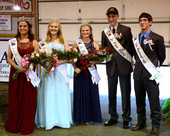 Sandusky County Fair Junior Fair court 2018 from left: Leah Liskai, Emma Widmer, queen Regan Draeger, king Austin Michael and Toby Reineck.