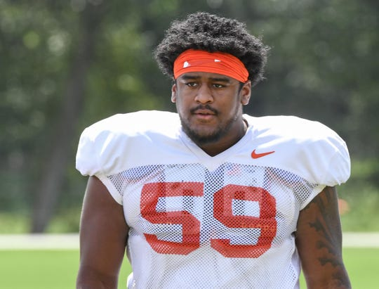 Clemson defensive lineman Jordan Williams (59) during practice at Clemson University on Tuesday, August 21.
