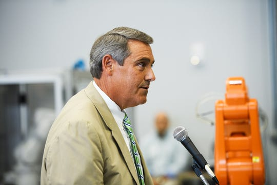 Sen. Ross Turner speaks during an event at Greenville Technical College's Center for Manufacturing Innovation to celebrate a new bill that allows the school to offer a four-year degree in advanced manufacturing technology on Wednesday, Aug. 22, 2018.