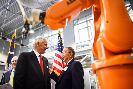 Gov. Henry McMaster attends a ceremonial bill signing event at Greenville Technical College's Center for Manufacturing Innovation to celebrate a new bill that allows the school to offer a four-year degree in advanced manufacturing technology on Wednesday, Aug. 22, 2018.