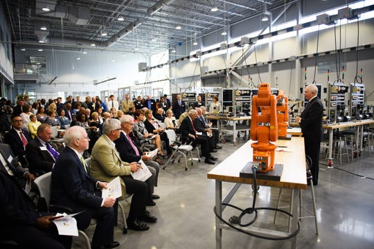 Dr. Keith Miller speaks during an event at Greenville Technical College's Center for Manufacturing Innovation to celebrate a new bill that allows the school to offer a four-year degree in advanced manufacturing technology on Wednesday, Aug. 22, 2018.