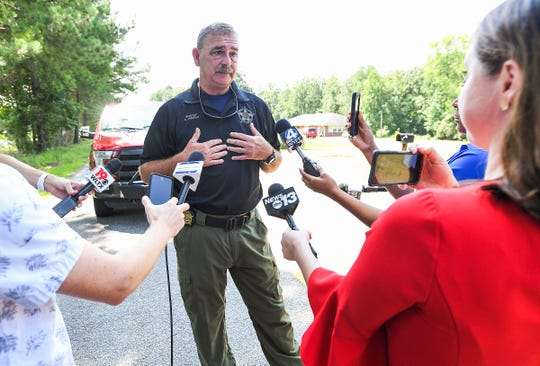 Spartanburg County Sheriff Chuck Wright updates the media on the search for additional homicide victims of serial killer Todd Kohlhepp off I-26 in Enoree Wednesday, August 22, 2018.