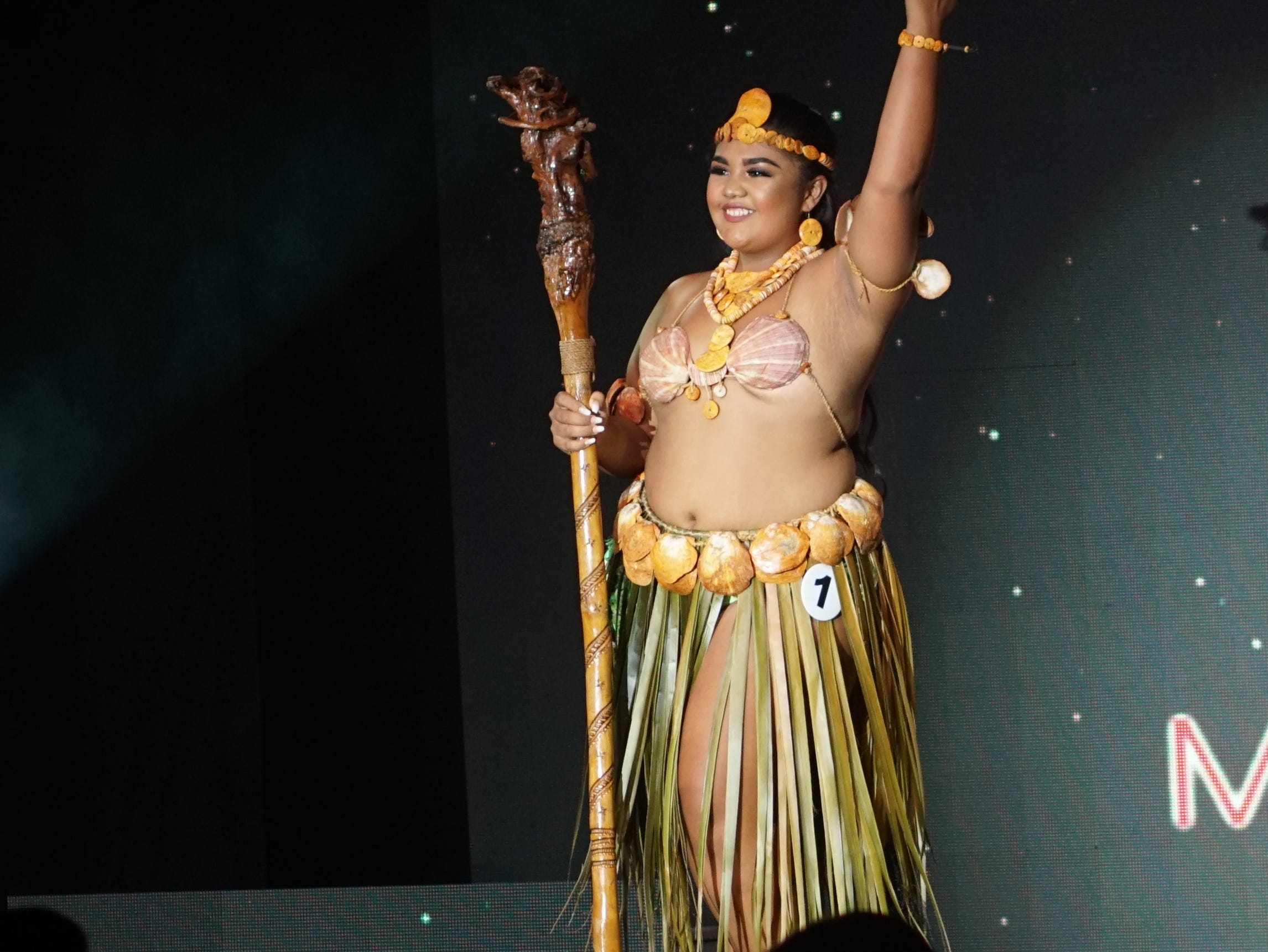 Native Costume portion of the Miss Universe Guam 2018 pageant, contestant 1  Shaeleen Nicole Pruyne Salas.  The pageant was held at  Sheraton Laguna Guam Resort on Aug. 15.
