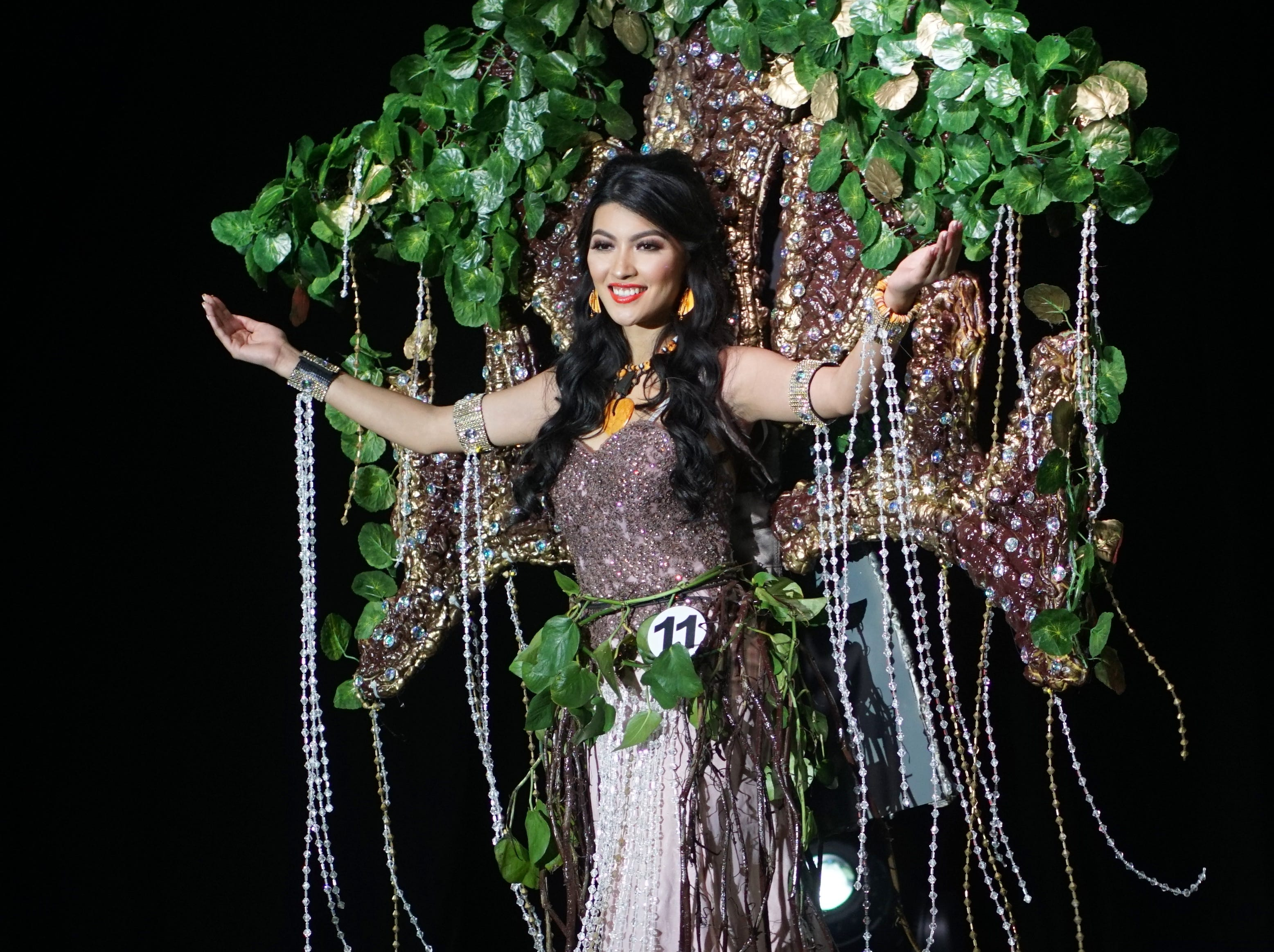Native Costume portion of the Miss Universe Guam pageant.  Contestant 11 Cheyenne Marques Santos.  The pageant was held at  Sheraton Laguna Guam Resort.