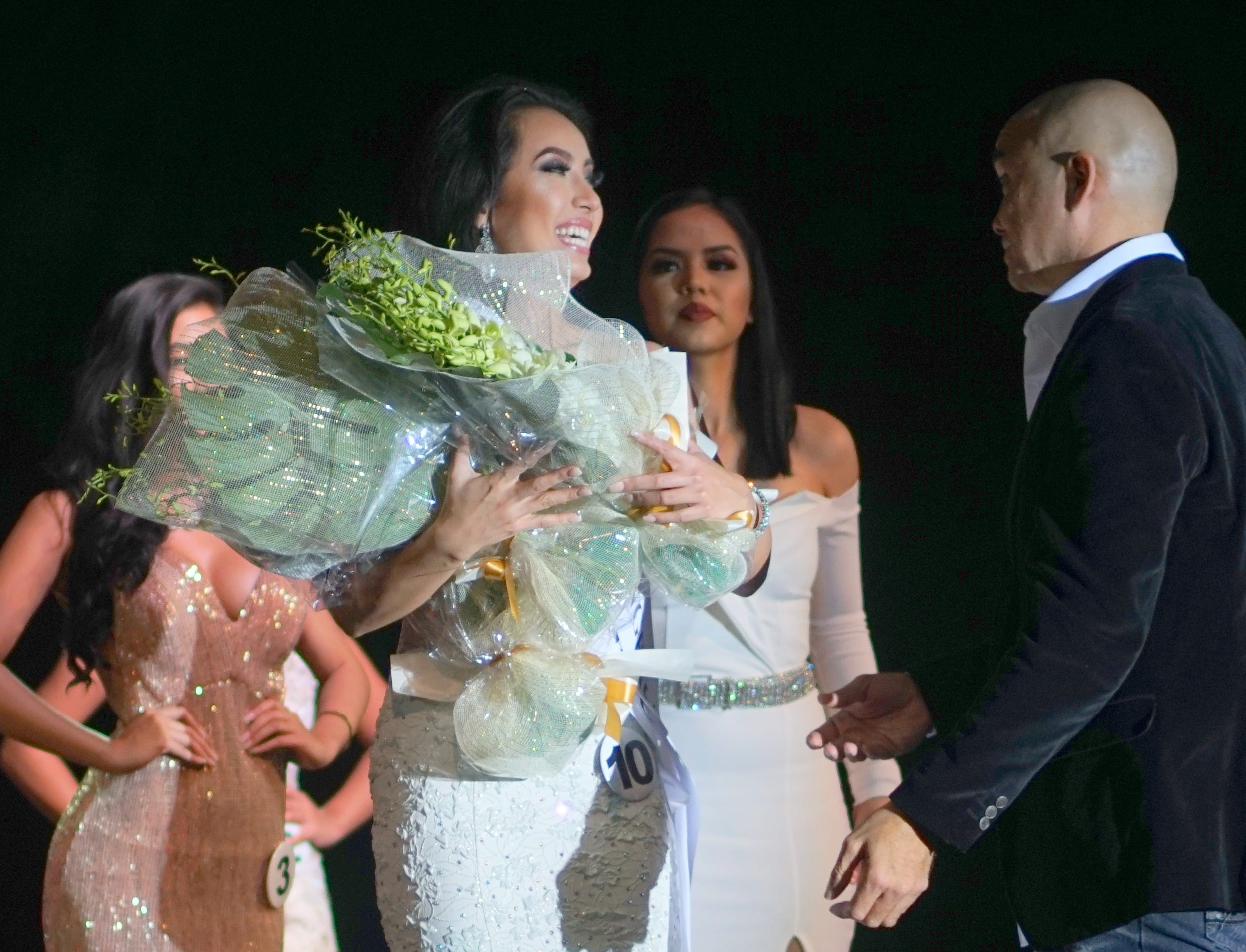 Kirsten Lydia Shelton Dahilig wins the Miss Congeniality award during the Miss Universe Guam 2018 pageant held at Sheraton Laguna Guam Resort.