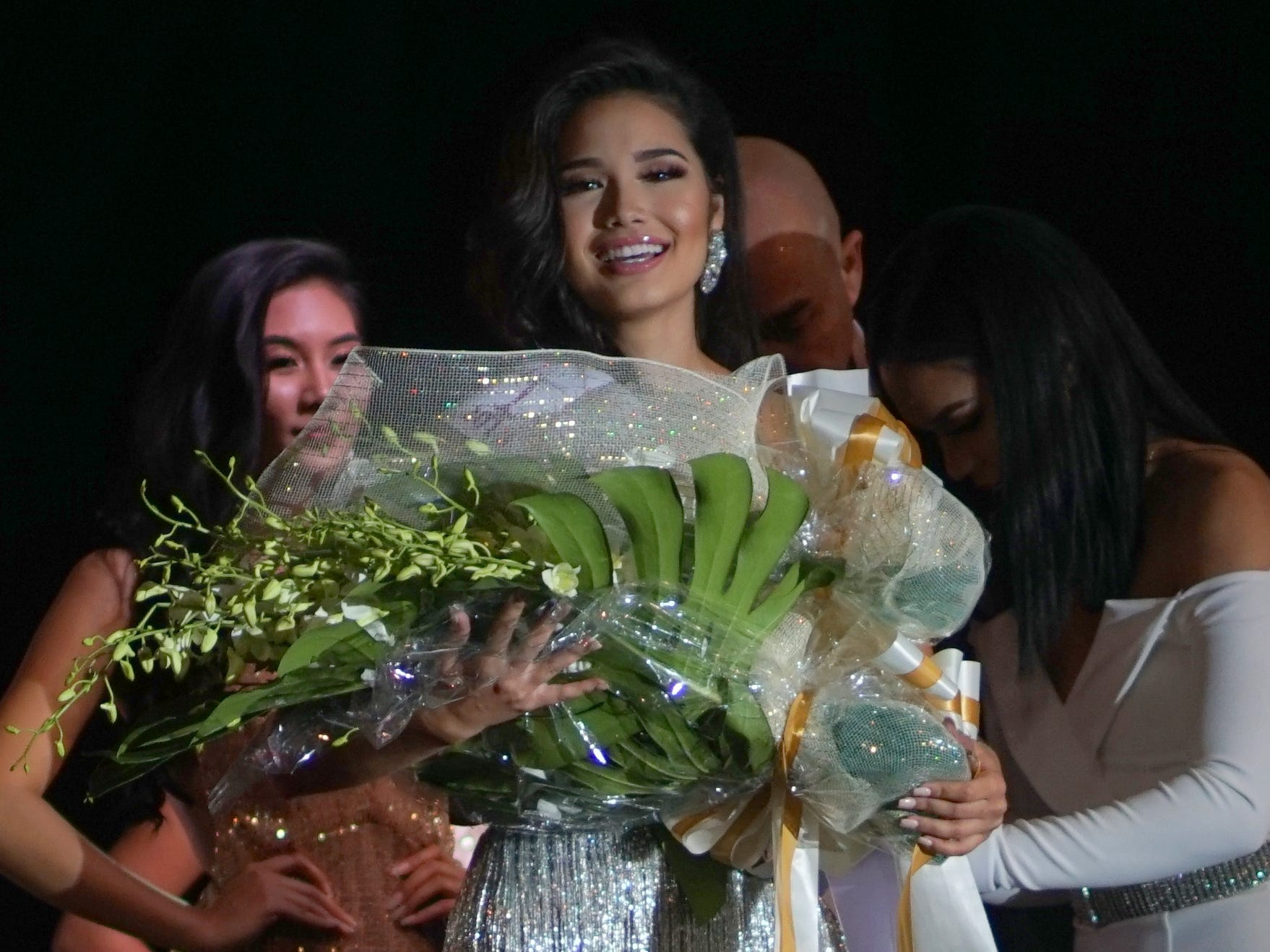 Contestant 12 Athena Eva McNinch wins the award for best in evening gown during the Miss Universe Guam Pageant held at Sheraton Laguna Guam Resort.