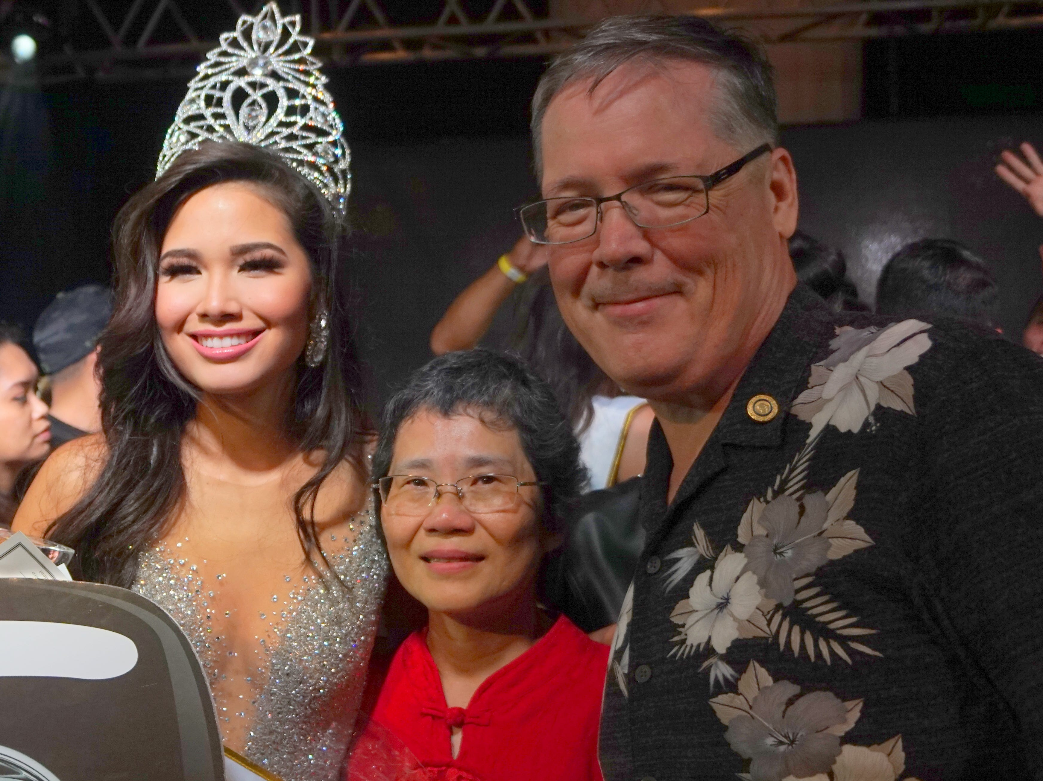 Dr. Ron and Rose Mcninch posing with their daughter, the 2018 crowned Miss Universe Guam, contestant 12 Athena Mcninch. The Miss Universe Guam Pageant held at Sheraton Laguna Guam Resort.