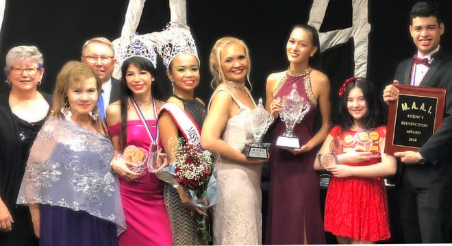 A winning delegation of Guam's John Robert Powers models and Talents of Performing Arts who represented Guam in the Modeling Association of America International competitions. The 2018 event was held at the Sheraton in Miami Florida June 27-30. Pictured from left: Executive Convention Directors Pat and George Bohnert, Belta Perez, 2018 MAAI president; Rolani Pannullo, first-runner-up Miss Hemisphere; Melody Manluck Miss Hemisphere Ambassador International; Rochella Perez, Modern Woman of the Year; Myrna Murphy, Overall Female Model of the Year; Analina Dial, National Winner of Category Awards and Marlon Hannigan, second runner-up Mr. Hemisphere.