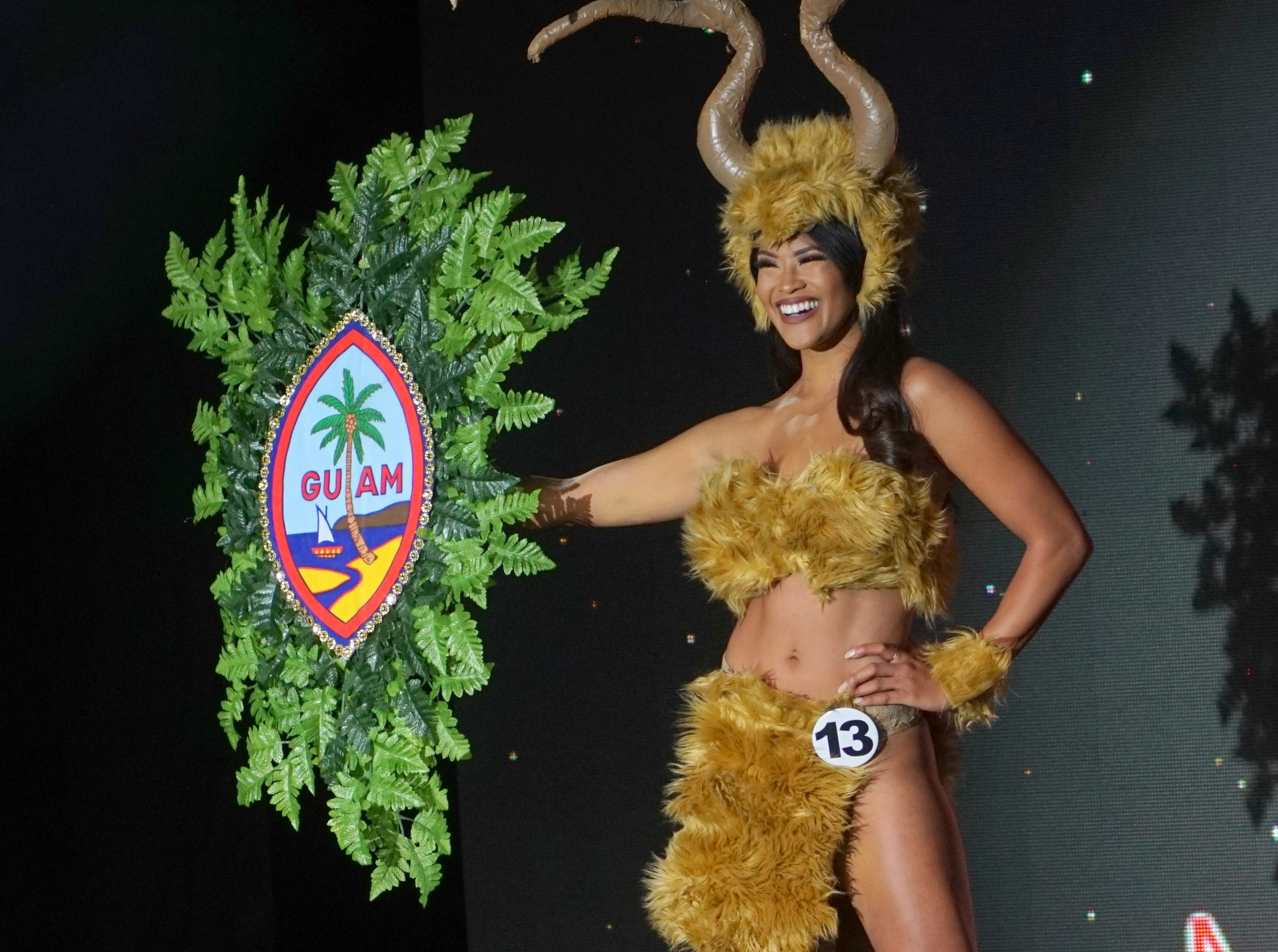 Native Costume portion of the Miss Universe Guam pageant.  Contestant 13 Keshia Llarenas.  The pageant was held at  Sheraton Laguna Guam Resort.