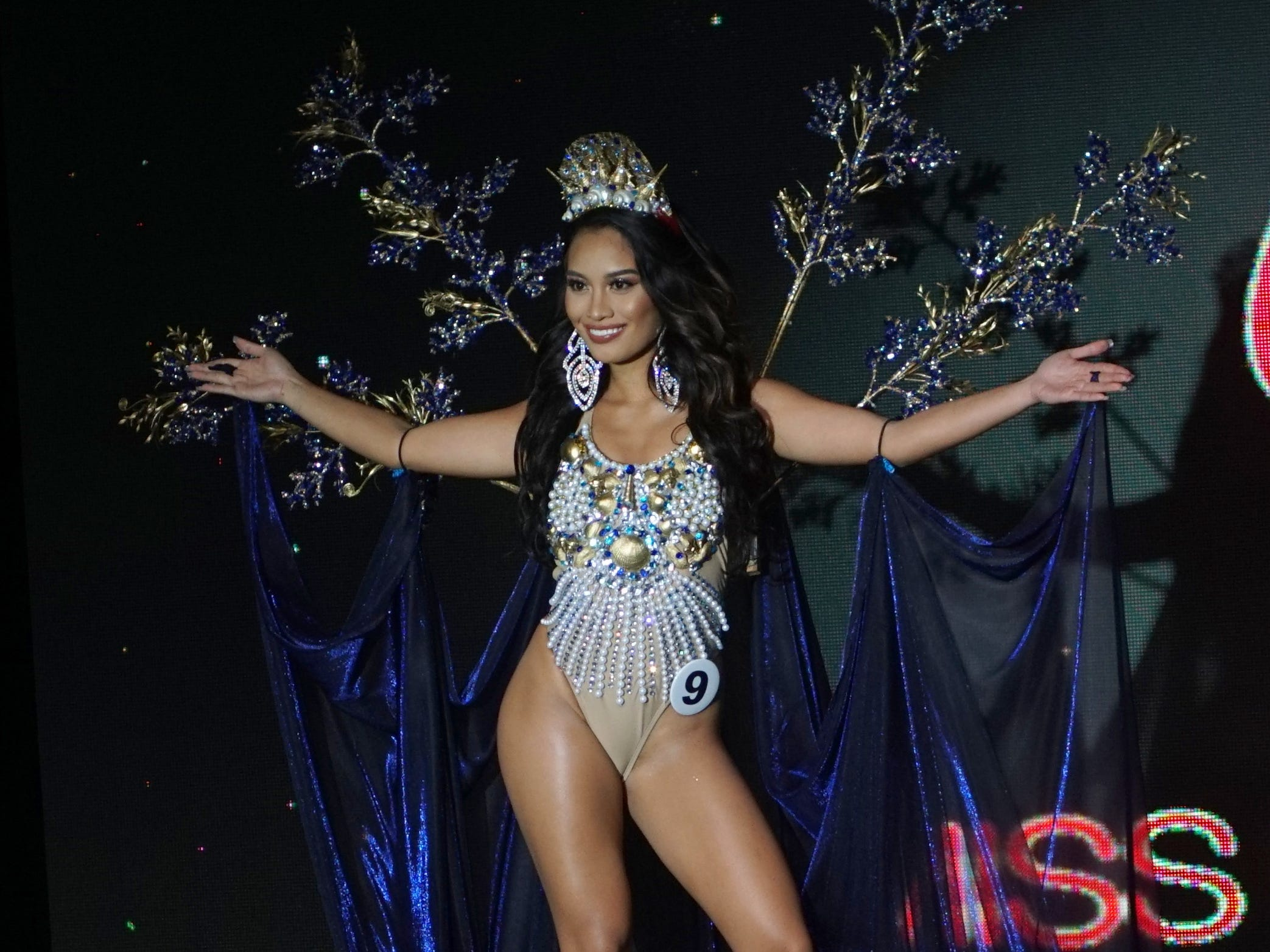 Native Costume portion of the Miss Universe Guam pageant.  Contestant 9 Celine Nicole Almero Comia.  The pageant was held at  Sheraton Laguna Guam Resort.