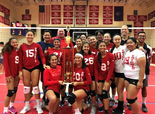 The St. John's School Knights are shown in this file photo after defending their title at the 19th Annual Shieh Invitational Volleyball Tournament, held at the Dale J. Jenkins Gymnasium.