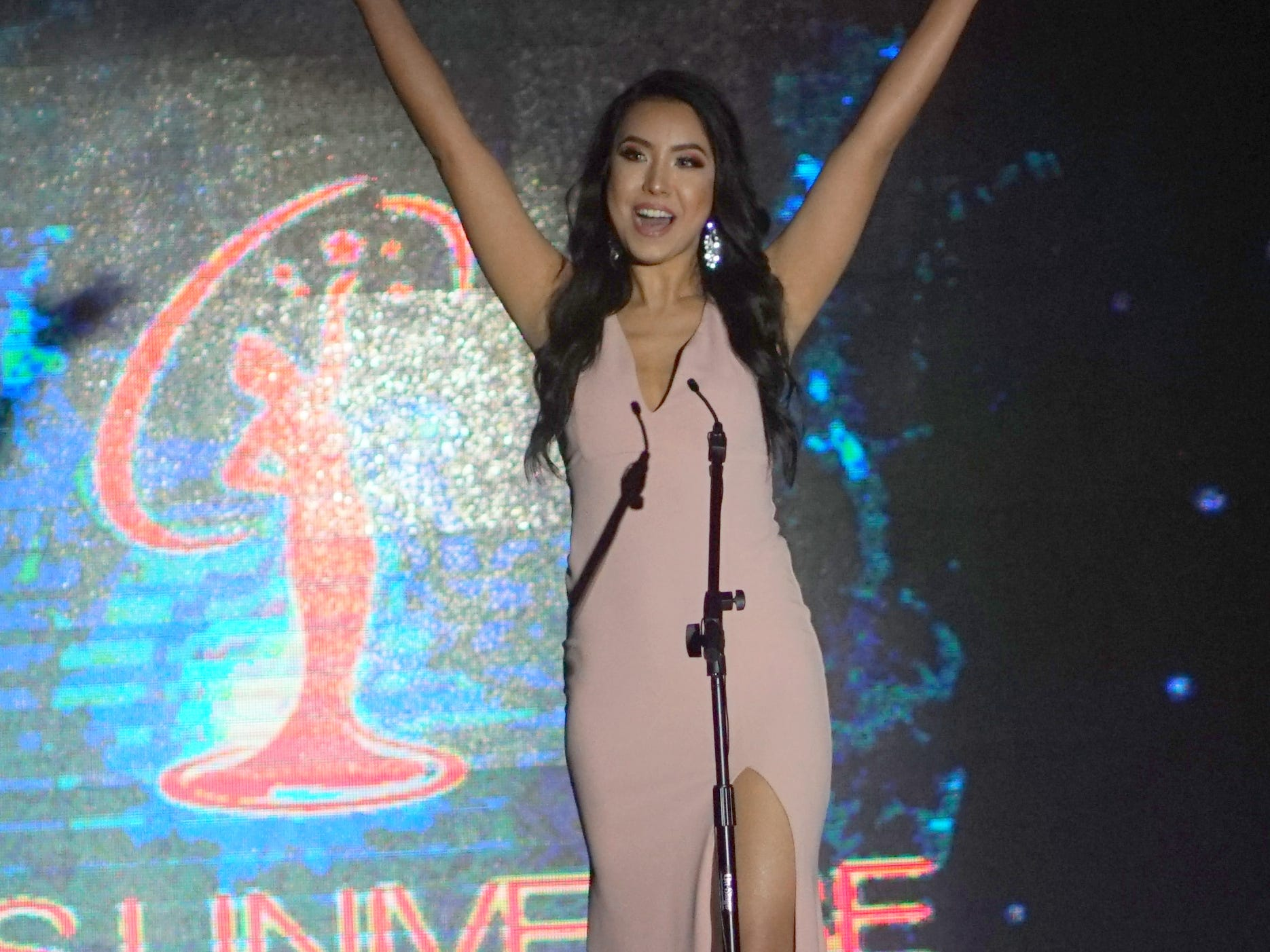 Miss Universe Guam Pageant opening ceremony with contestant 10 Kirsten Dahilig.  The pageant was held at  Sheraton Laguna Guam Resort.
