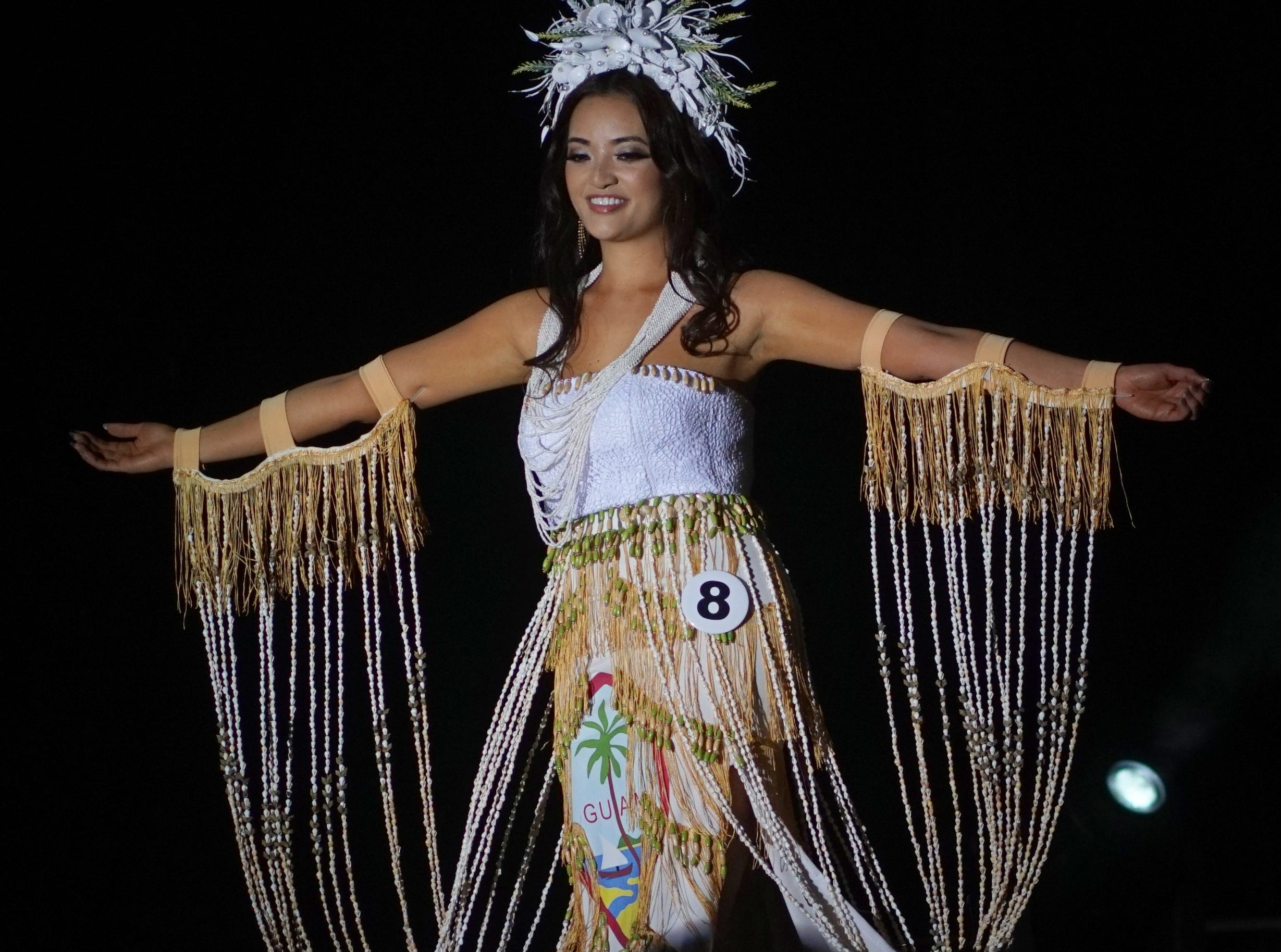 Native Costume portion of the Miss Universe Guam pageant.  Contestant 8 Noelle Fuentes Uy-Tuazon.  The pageant was held at  Sheraton Laguna Guam Resort.