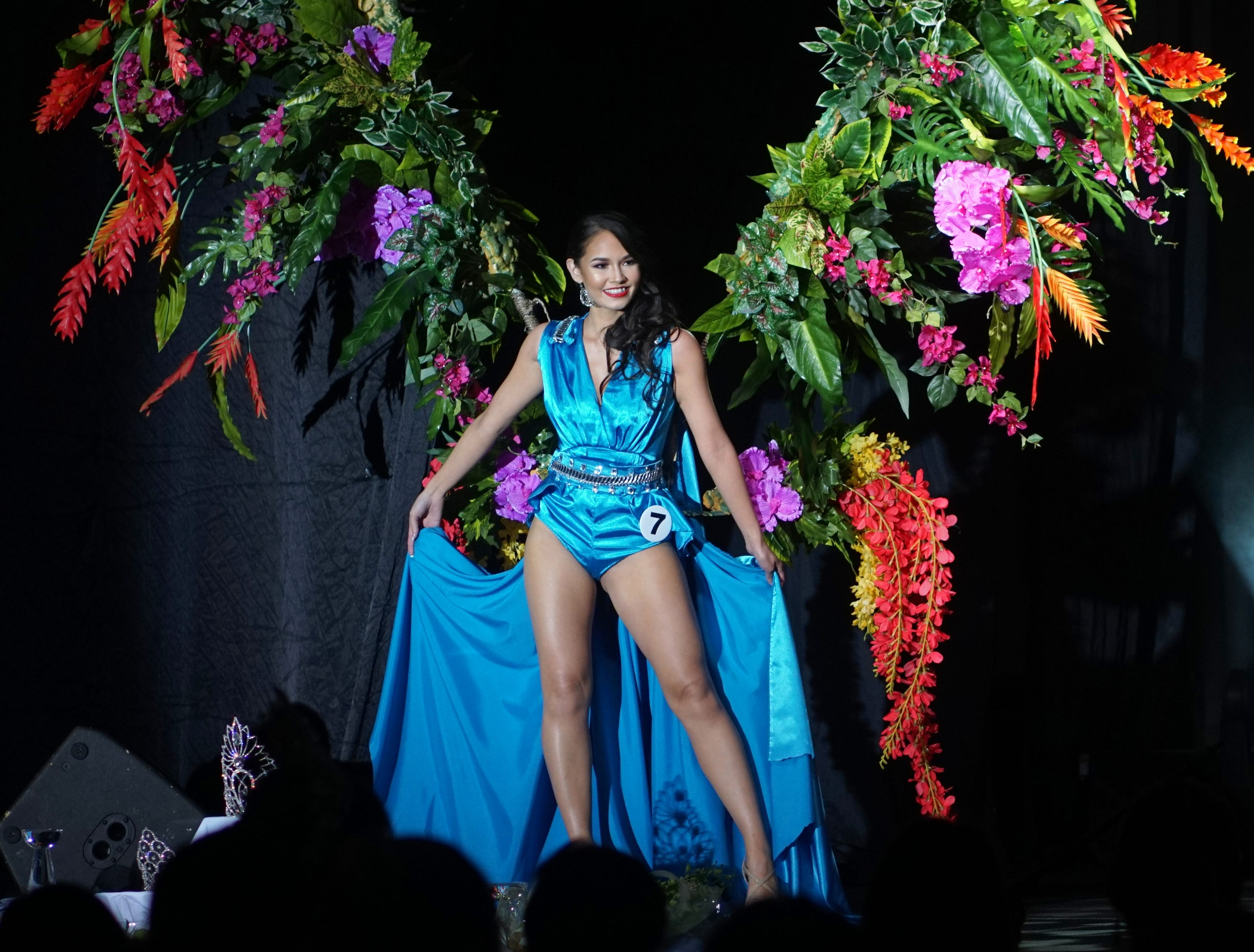 Native Costume portion of the Miss Universe Guam pageant.  Contestant 7 Savana Rose Baza. The pageant was held at  Sheraton Laguna Guam Resort.