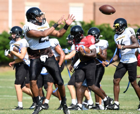 Southern Miss tight end Collin Kilcrease catches the ball during the teams last week of fall camp on Wednesday, August 22, 2018.