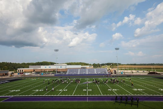 Liberty players line up during a varsity football practice on Friday, Aug. 17, 2018, at Liberty High School in North Liberty. Liberty will travel to City High for their first game in program history on Friday, Aug. 24.
