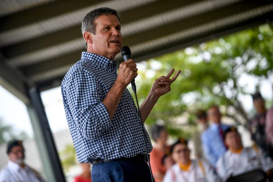 Republican gubernatorial candidate Bill Lee speaks to attendees at a campaign stop at West Tennessee Farmer's Market in Jackson, Tenn., on Wednesday, Aug. 22, 2018.
