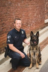 Jackson Police K9 Officer Kyra died suddenly Tuesday, Aug. 21, 2018, of medical complications. She is pictured with her handler, JPD Sgt. Brandon Moss.