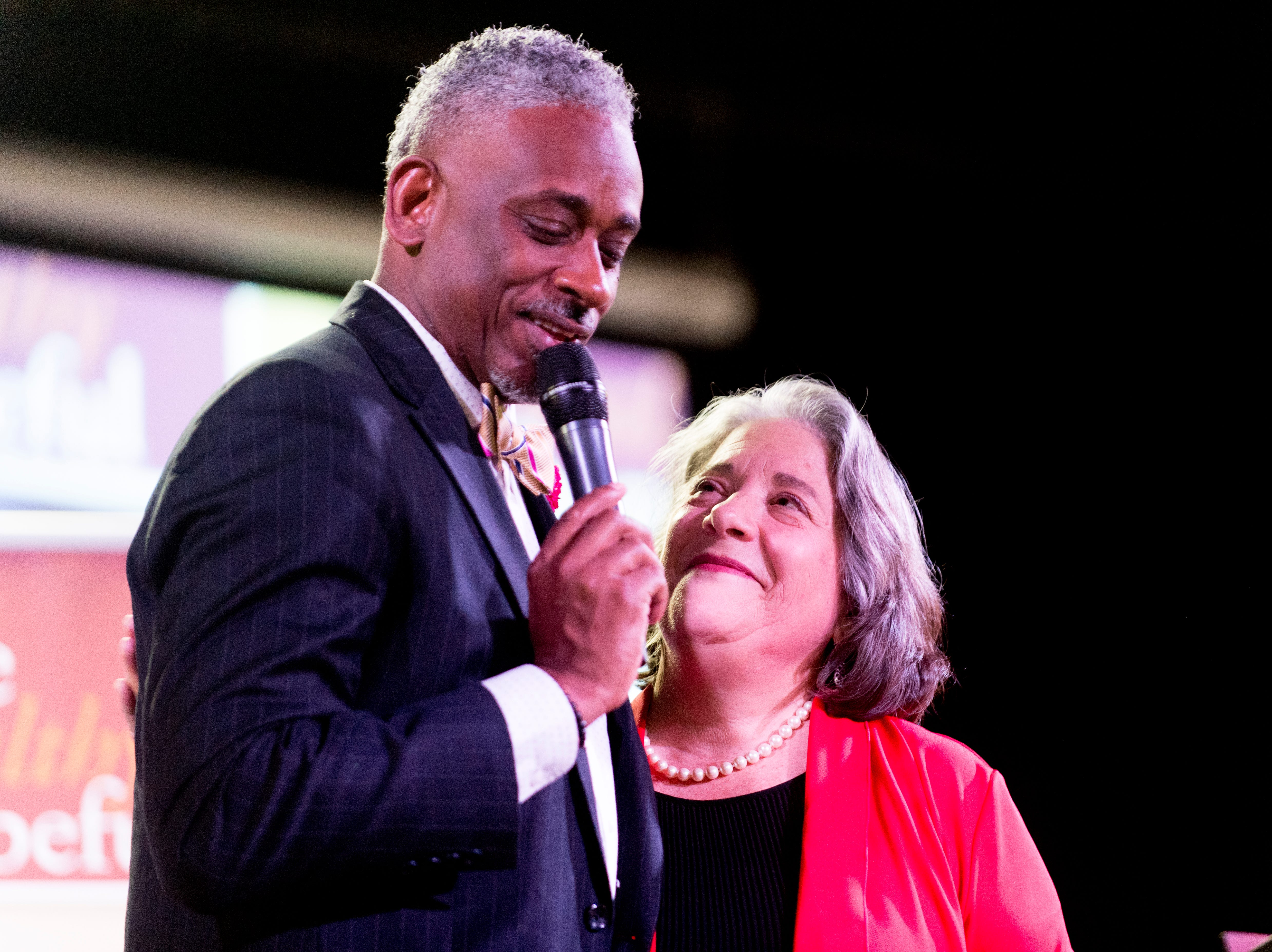 Knoxville Mayor Madeline Rogero hugs Overcoming Believers Church Pastor Daryl Arnold during the Cities Summit on Aug. 22, 2018. Mayors from all over the country gathered in Knoxville to talk about opportunities and issues facing young men of color.