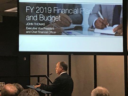 TVA Chief Financial Officer John Thomas presents TVA's $10.55 billion annual budget Aug. 22, 2018.