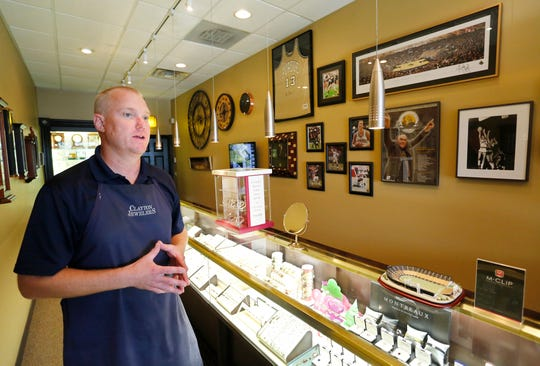 GR Clayton of Clayton Jewelers talks about the development plans for Chauncey Hill Mall Wednesday, August 22, 2018, in West Lafayette. Clayton said he would like to keep his business in the area because of the high volume of foot traffic and easy access to his store, but he has no idea at this point where he will go.