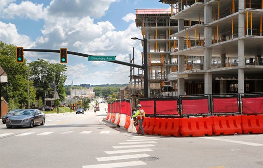 The Rise at Chauncey and Hub Plus, two new retail/housing developments, as seen facing east on State Street at the intersection with Chauncey Avenue Wednesday, August 22, 2018, in West Lafayette.