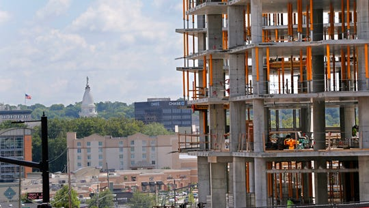Ongoing construction of The Rise at Chauncey, a new retail/house development on State Street just east of Chauncey Hill Mall, with the Tippecanoe County Courthouse seen in the distance, Wednesday, August 22, 2018, in West Lafayette.