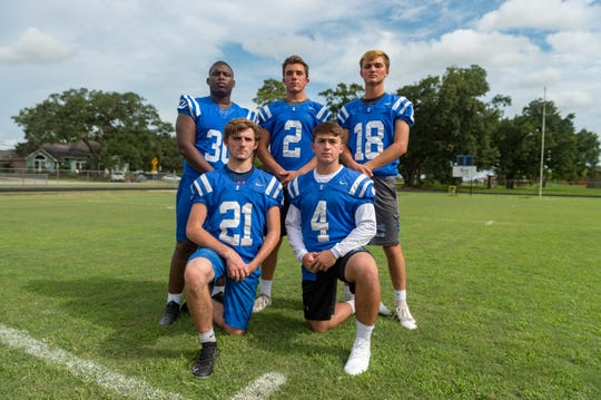 Erath's defensive standouts include Colton Punch (21), Tucker Derise (4), Curtis Cormier (30), Andre Toups (2) and Lane Toups (18).