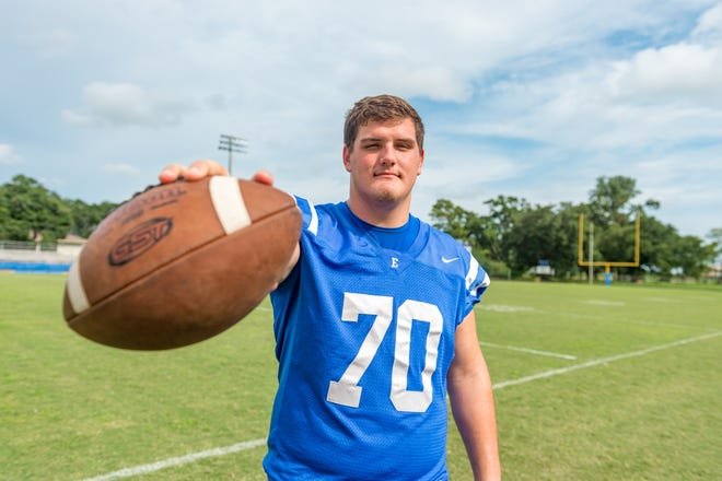 Erath senior Jax Harrington, who committed to UL in July, is one of the top offensive lineman in the Acadiana area.