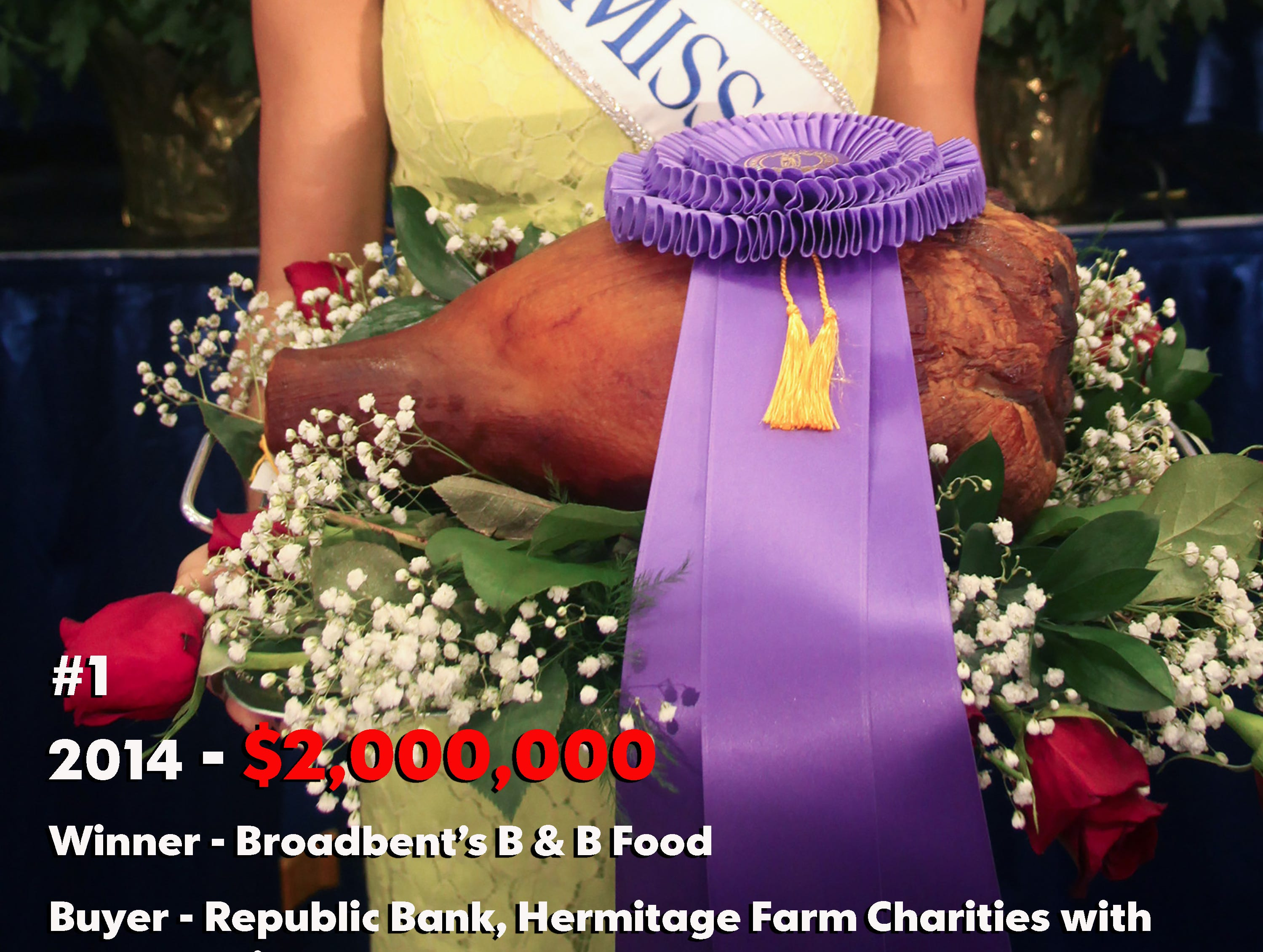 Miss Kentucky Ramsey Chandler shows off the $2 million ham. 2014