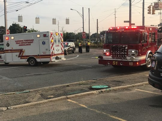 Police closed the intersection of Homer and Saginaw streets on Tuesday, Aug. 21, 2018 after a crash involving a bicycle and a car.