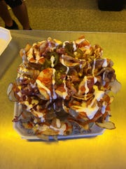 Buffalo Ribbon Fries from the Eat My Bloomers stall at the Manitowoc County Fair.