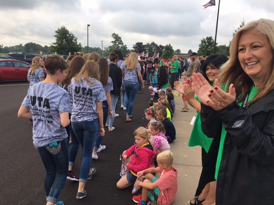 Crestview Schools starts the new school year with a parade, lined by students, parents and community members on Wednesday morning.