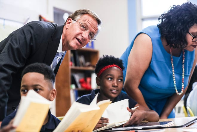 Gov. Bill Haslam interacts with students during his visit to Georgian Hills Achievement Elementary School on Wednesday.