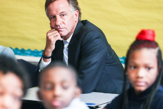 August 22, 2018 - Then-Governor Bill Haslam sits in on a class during a visit to Achievement School District school Georgian Hills Achievement Elementary School on Wednesday.