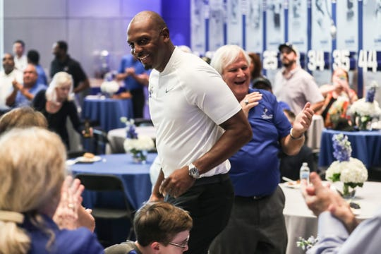 August 21 2018 - Crowd members react as Penny Hardaway takes the stage during the Memphis Rebounders annual preseason banquet at the Laurie-Walton Family Basketball Center.