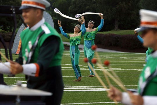 Pioneer Drum & Bugle Corps and Color Guard performs July 30 during The Summer Music Games of Southwest Virginia Drum Corps International at Salem Football Stadium in Salem, Va. Pioneer performed its 2018 program Celtic Dragon.