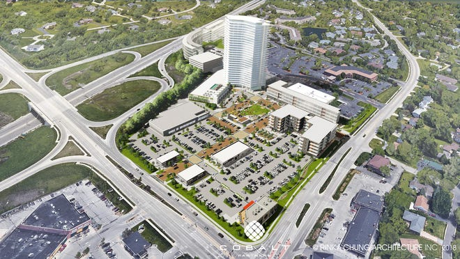 OneNorth would cover nearly 28 acres east of I-43 and north of Brown Deer Road in Bayside. But the initial plan for a 30-story apartment tower would be reduced to 15 stories.