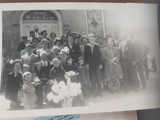 Members of St. John UCC gathered to celebrate George and Louise Leonhardt's anniversary in 1945, according to Joan Schaetzel. The Leonhardt family was among the original members of the church when it started in 1843.
