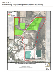 This map shows the boundaries of Lannon's first tax incremental financing district. The Overstone Condominiums development is planned for 52 acres on the north side of Main Street, to be developed in three 18-acre phases.