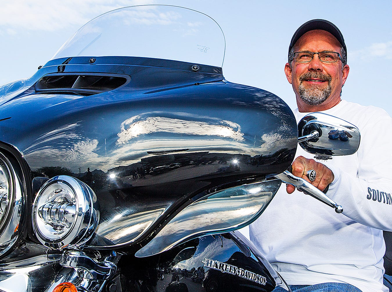 Bill Davidson, the great-grandson of William Davidson, sits atop his Harley in Scottsdale, Arizona, Aug. 22.