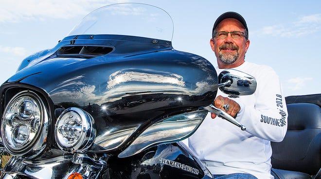 Bill Davidson, the great-grandson of William Davidson, sits atop his Harley in Scottsdale, Arizona, Aug. 22.