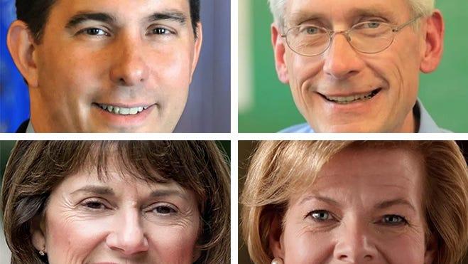 Top, from left: Scott Walker, Tony Evers. Bottom, from left: Leah Vukmir, Tammy Baldwin.