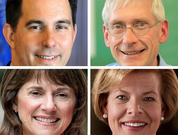 Top, from left: Scott Walker, Tony Evers. Bottom, from left: Leah Vukmir, Tammy Baldwin.