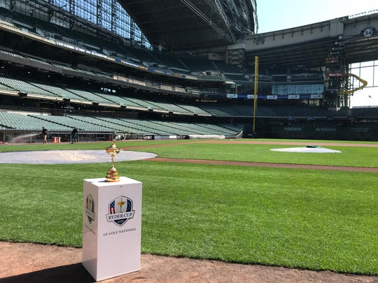 The Ryder Cup trophy sits at Miller Park in advance of the Brewers game against the Reds on Aug. 22.